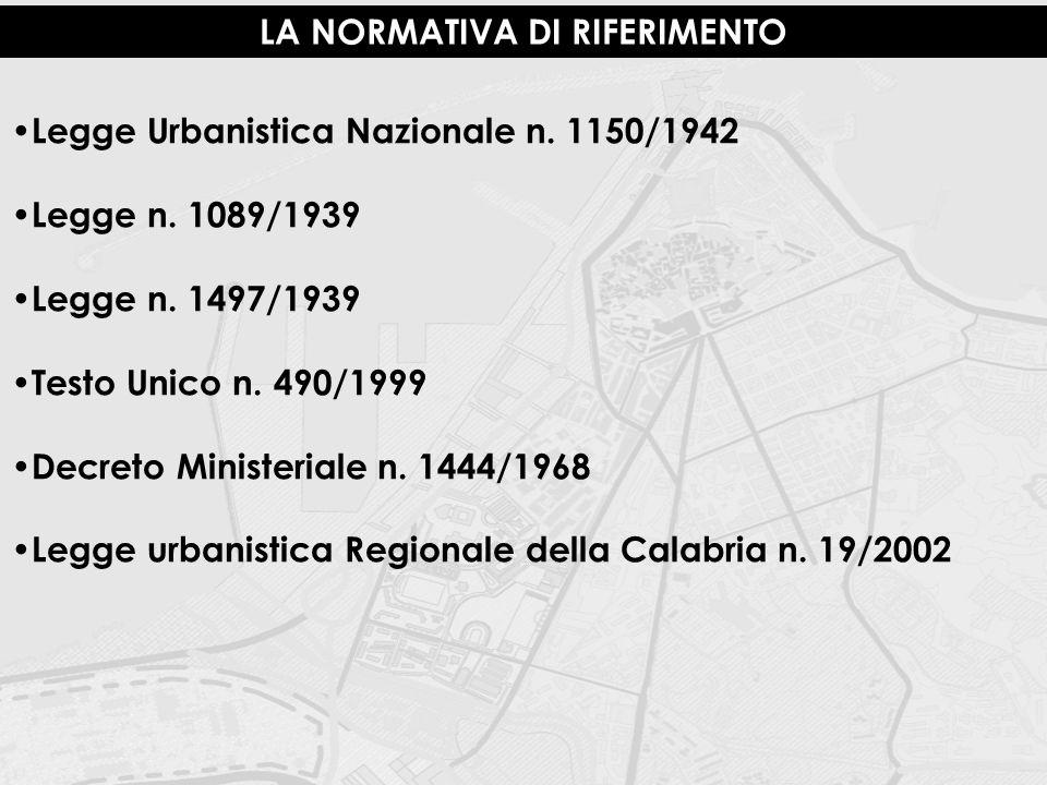 LA NORMATIVA DI RIFERIMENTO Legge Urbanistica Nazionale n. 1150/1942 Legge n. 1089/1939 Legge n. 1497/1939 Testo Unico n. 490/1999 Decreto Ministerial