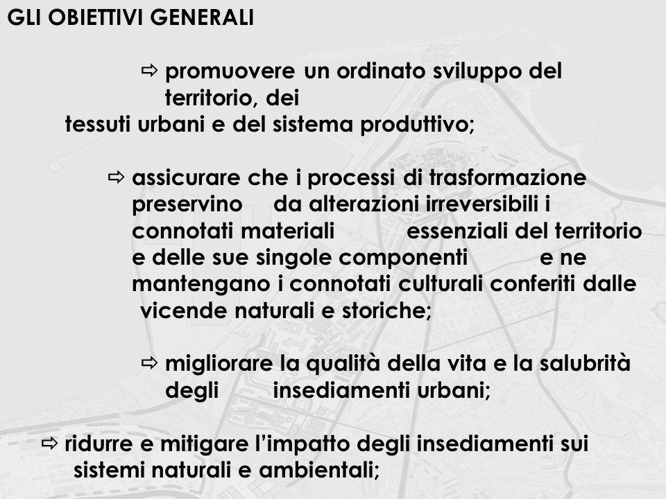 GLI OBIETTIVI GENERALI  promuovere un ordinato sviluppo del territorio, dei tessuti urbani e del sistema produttivo;  assicurare che i processi di t