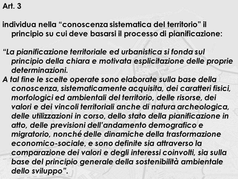 """Art. 3 individua nella """"conoscenza sistematica del territorio"""" il principio su cui deve basarsi il processo di pianificazione: """"La pianificazione terr"""