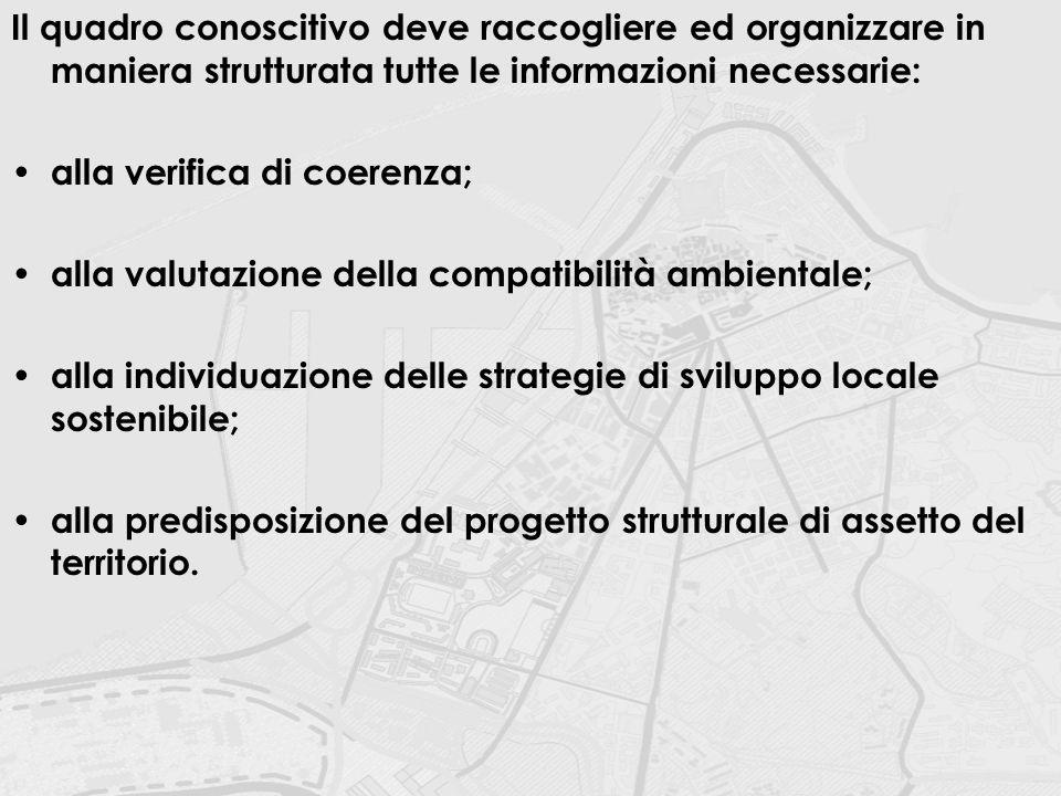 Il quadro conoscitivo deve raccogliere ed organizzare in maniera strutturata tutte le informazioni necessarie: alla verifica di coerenza; alla valutaz