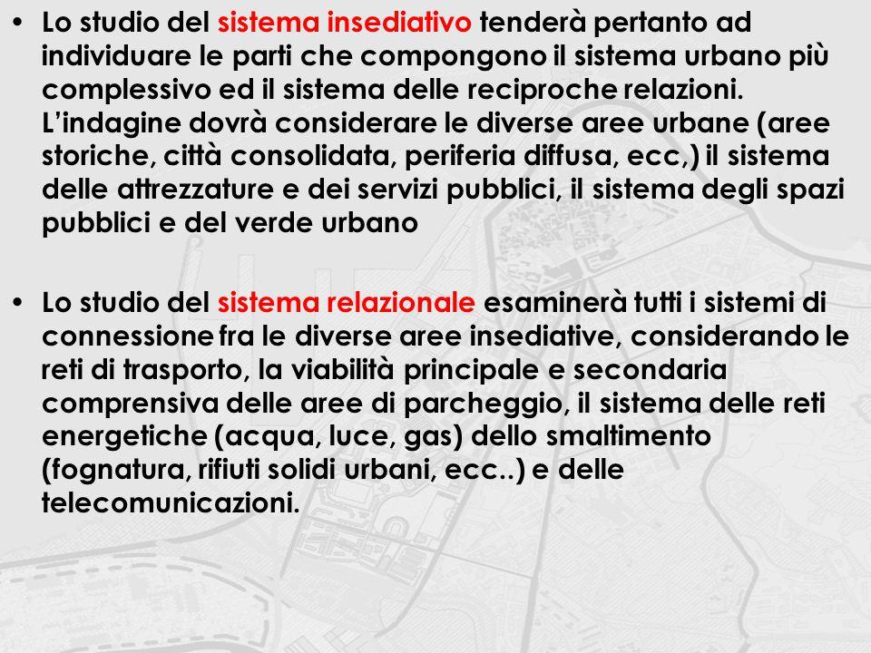 Lo studio del sistema insediativo tenderà pertanto ad individuare le parti che compongono il sistema urbano più complessivo ed il sistema delle recipr