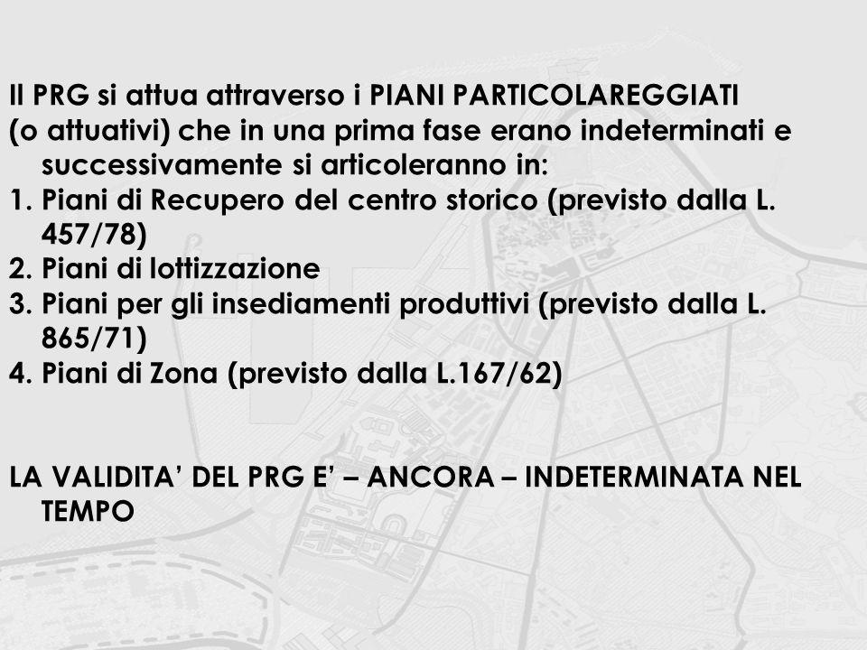 Il PRG si attua attraverso i PIANI PARTICOLAREGGIATI (o attuativi) che in una prima fase erano indeterminati e successivamente si articoleranno in: 1.