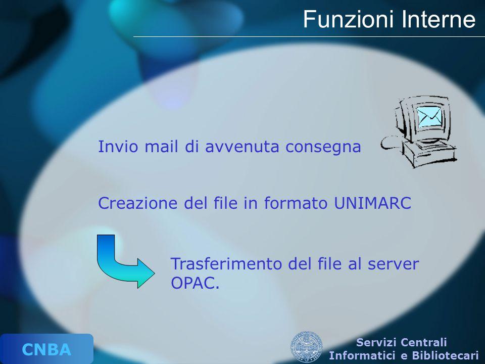 CNBA Servizi Centrali Informatici e Bibliotecari Funzioni Interne Trasferimento del file al server OPAC. Invio mail di avvenuta consegna Creazione del