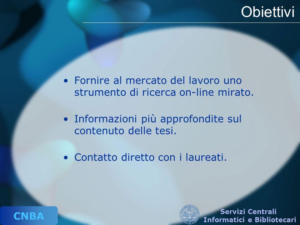 CNBA Servizi Centrali Informatici e Bibliotecari Obiettivi Fornire al mercato del lavoro uno strumento di ricerca on-line mirato. Informazioni più app