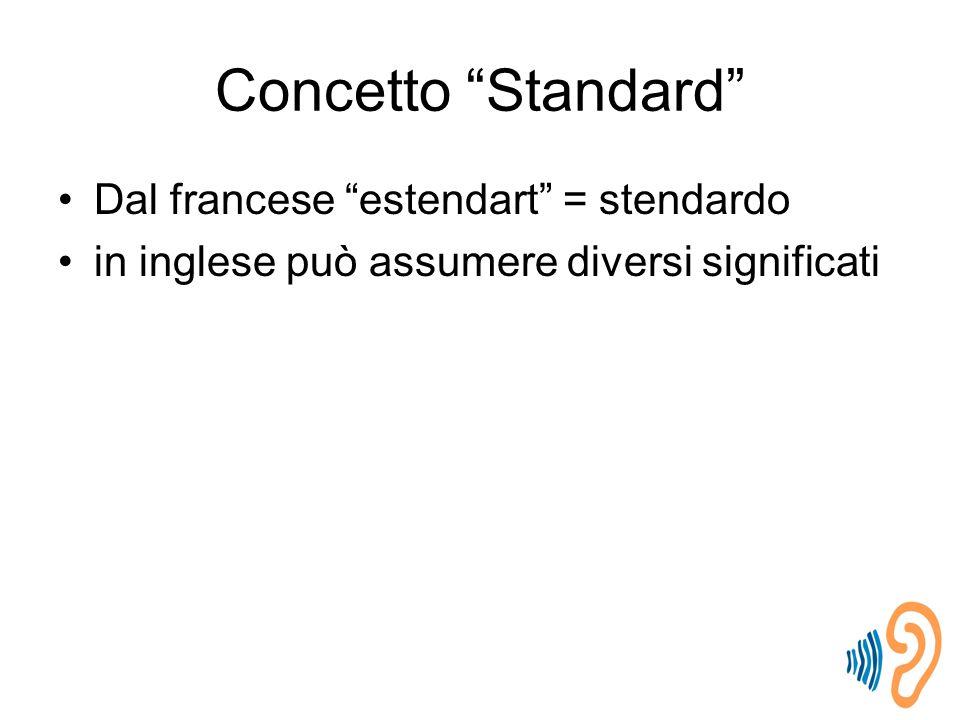 Concetto Standard Dal francese estendart = stendardo in inglese può assumere diversi significati