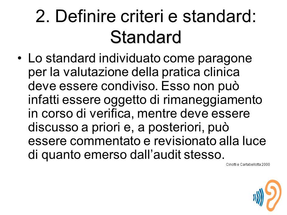 Lo standard individuato come paragone per la valutazione della pratica clinica deve essere condiviso.