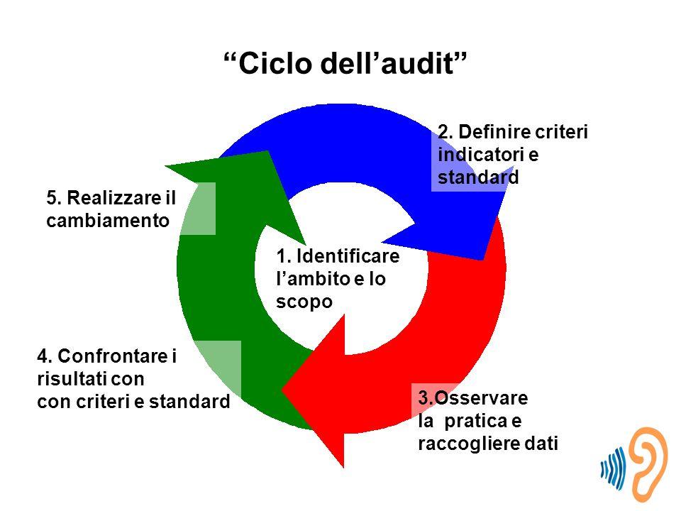 Ciclo dell'audit 4.Confrontare i risultati con con criteri e standard 5.
