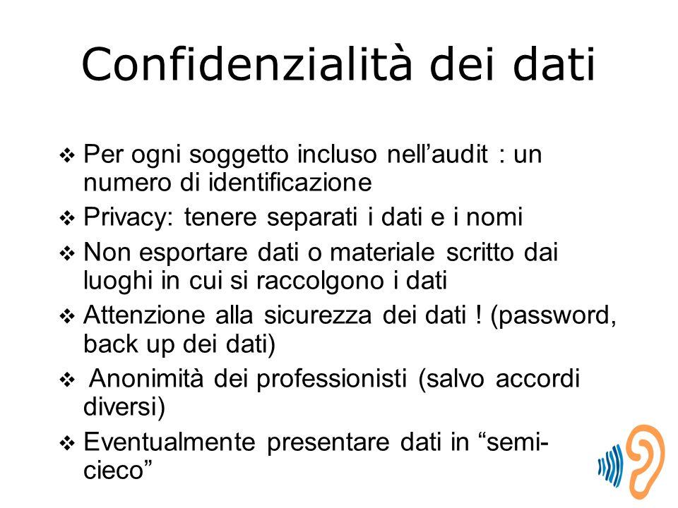 Confidenzialità dei dati  Per ogni soggetto incluso nell'audit : un numero di identificazione  Privacy: tenere separati i dati e i nomi  Non esportare dati o materiale scritto dai luoghi in cui si raccolgono i dati  Attenzione alla sicurezza dei dati .