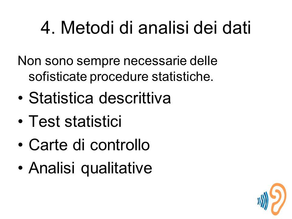 4.Metodi di analisi dei dati Non sono sempre necessarie delle sofisticate procedure statistiche.