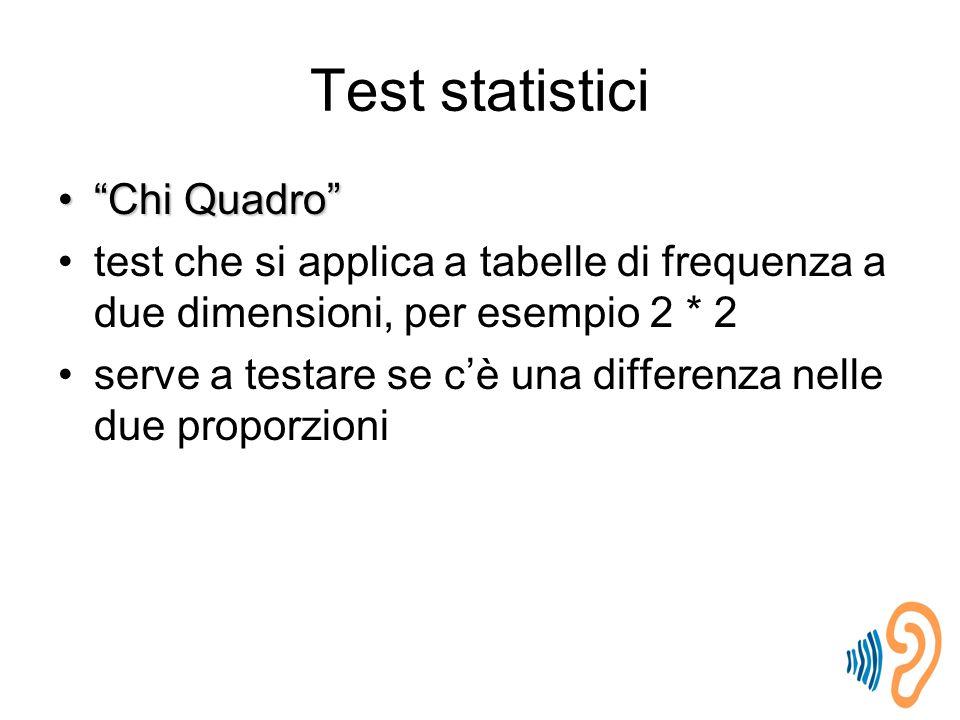 Test statistici Chi Quadro Chi Quadro test che si applica a tabelle di frequenza a due dimensioni, per esempio 2 * 2 serve a testare se c'è una differenza nelle due proporzioni
