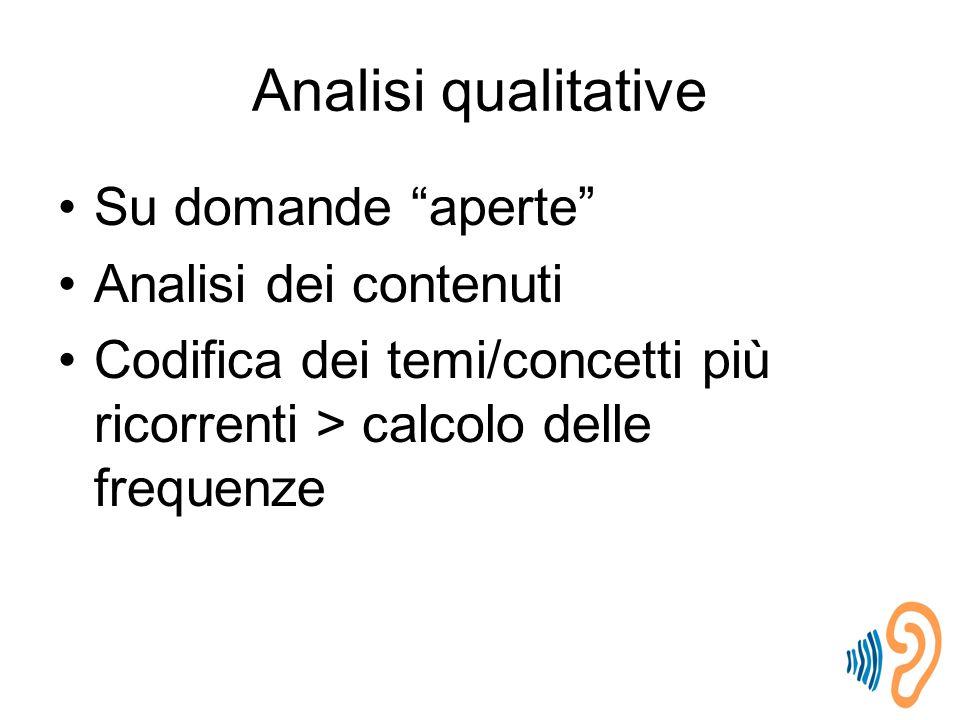 Analisi qualitative Su domande aperte Analisi dei contenuti Codifica dei temi/concetti più ricorrenti > calcolo delle frequenze