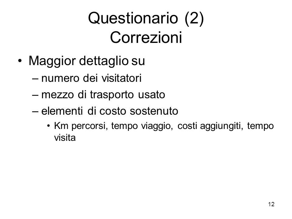 12 Questionario (2) Correzioni Maggior dettaglio su –numero dei visitatori –mezzo di trasporto usato –elementi di costo sostenuto Km percorsi, tempo viaggio, costi aggiungiti, tempo visita