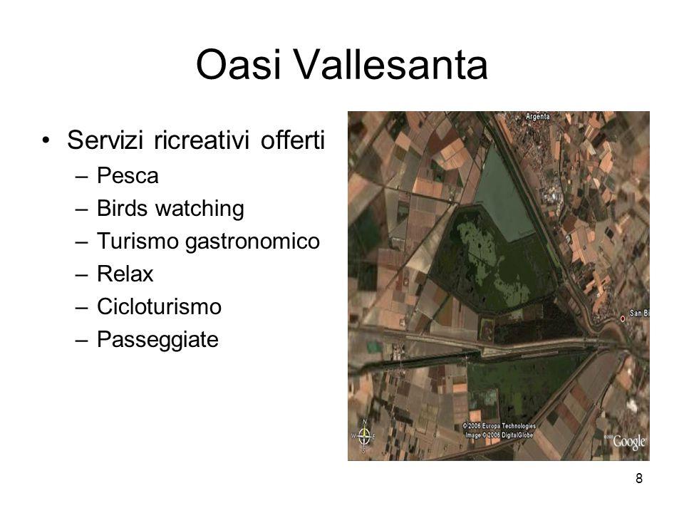 8 Oasi Vallesanta Servizi ricreativi offerti –Pesca –Birds watching –Turismo gastronomico –Relax –Cicloturismo –Passeggiate