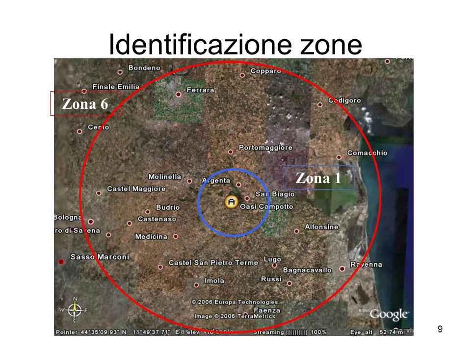 9 Identificazione zone Zona 1 Zona 6