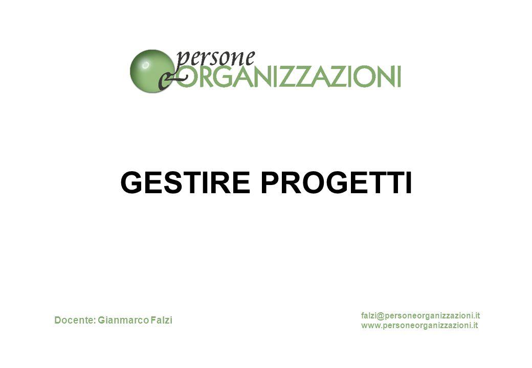 GESTIRE PROGETTI Docente: Gianmarco Falzi falzi@personeorganizzazioni.it www.personeorganizzazioni.it