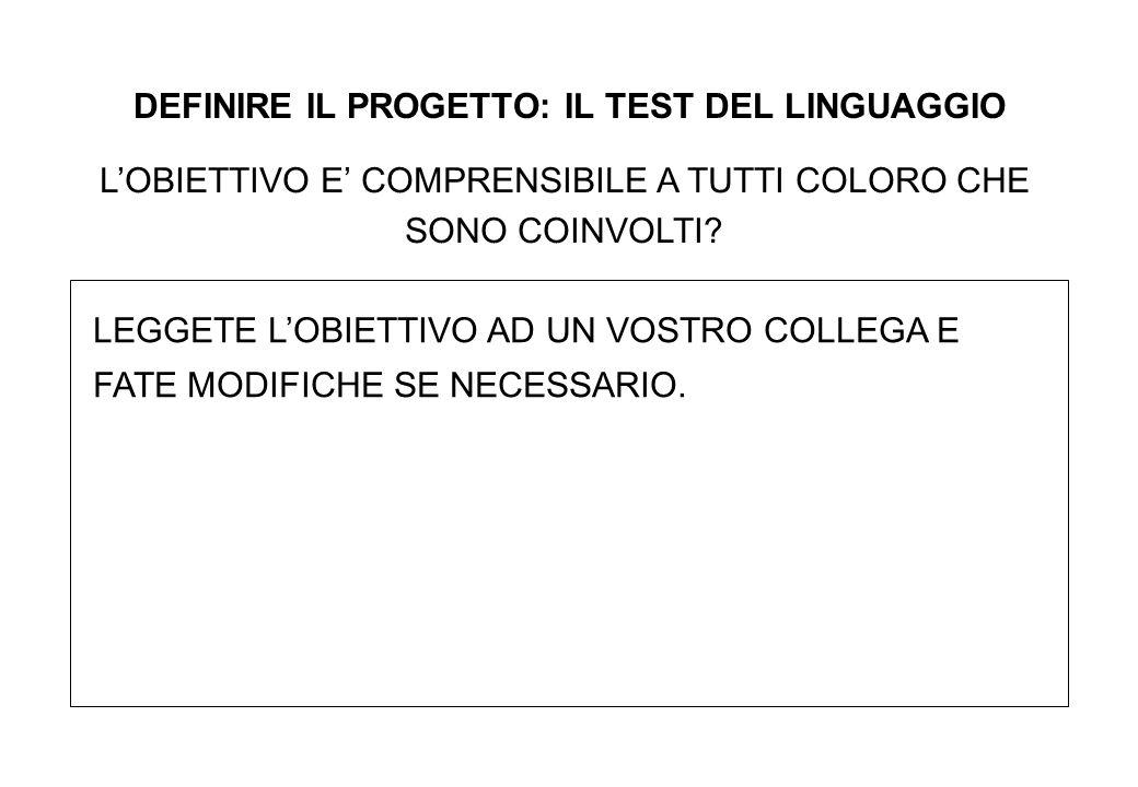 DEFINIRE IL PROGETTO: IL TEST DEL LINGUAGGIO L'OBIETTIVO E' COMPRENSIBILE A TUTTI COLORO CHE SONO COINVOLTI.