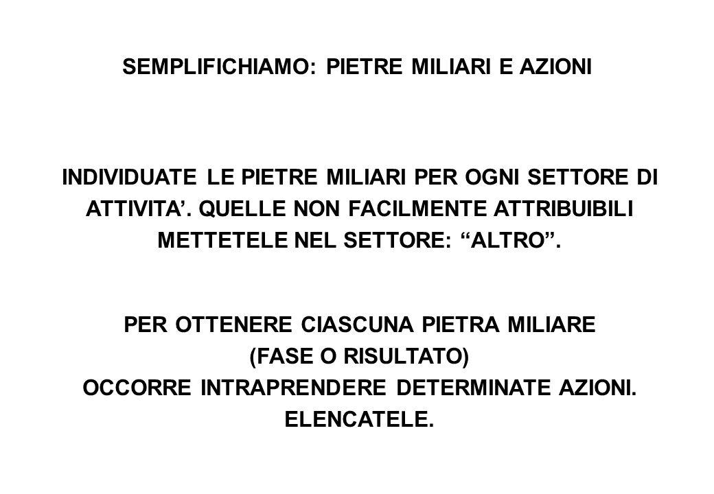 SEMPLIFICHIAMO: PIETRE MILIARI E AZIONI INDIVIDUATE LE PIETRE MILIARI PER OGNI SETTORE DI ATTIVITA'.