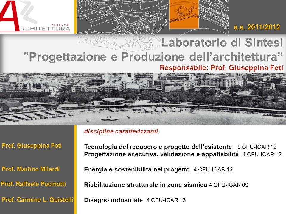 Laboratorio di Sintesi Progettazione e Produzione dell'architettura Responsabile: Prof.