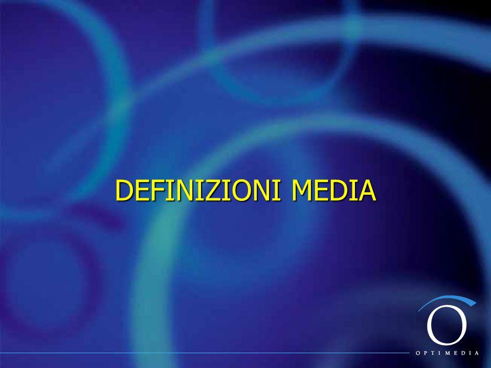Le Principali Definizioni Media Copertura Netta o Net Reach GRP (Gross Rating Points) Frequenza Media / OpportunityTo See Copertura Efficace o Effective Reach Distribuzione di frequenza