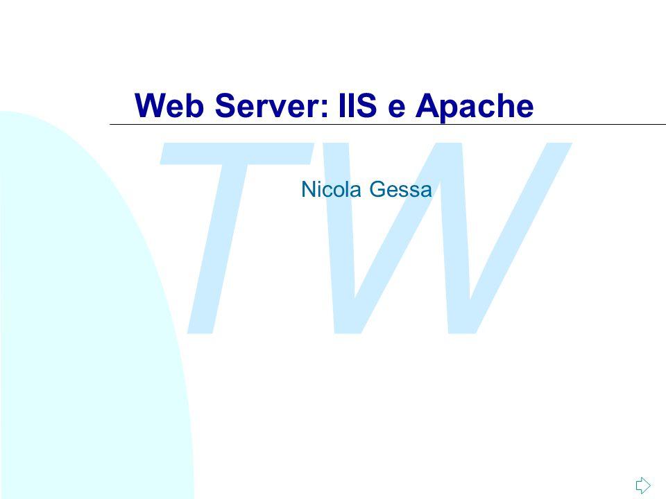 TW Nicola Gessa Performance n Previsione del numero di connessioni giornaliere al sito n Controllo dalla bandwidth disponibile alle connessioni del sito n Gestione di connessioni HTTP persistenti Consente di migliorare le prestazioni del sito Web tramite la cinfigurazione di alcuni parametri