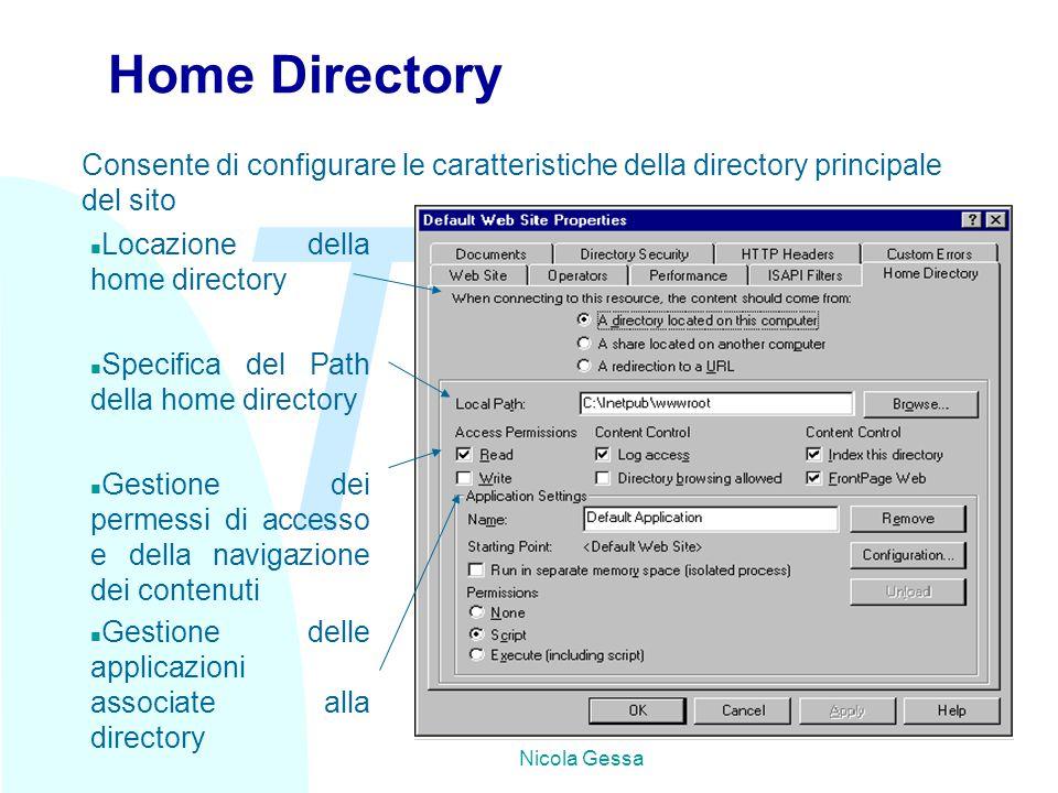 TW Nicola Gessa Home Directory n Locazione della home directory n Specifica del Path della home directory n Gestione dei permessi di accesso e della navigazione dei contenuti n Gestione delle applicazioni associate alla directory Consente di configurare le caratteristiche della directory principale del sito