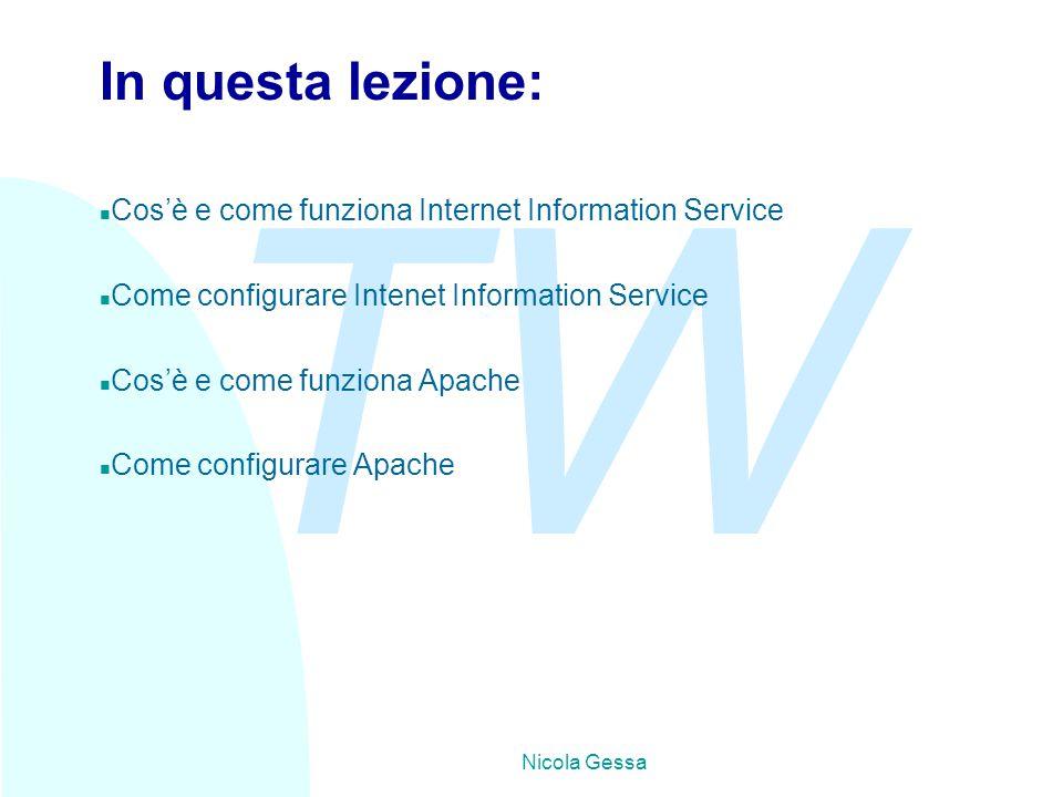 TW Nicola Gessa In questa lezione: n Cos'è e come funziona Internet Information Service n Come configurare Intenet Information Service n Cos'è e come funziona Apache n Come configurare Apache