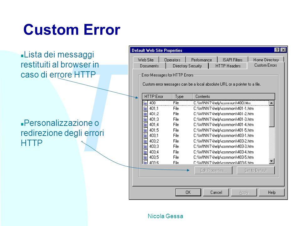 TW Nicola Gessa Custom Error n Lista dei messaggi restituiti al browser in caso di errore HTTP n Personalizzazione o redirezione degli errori HTTP