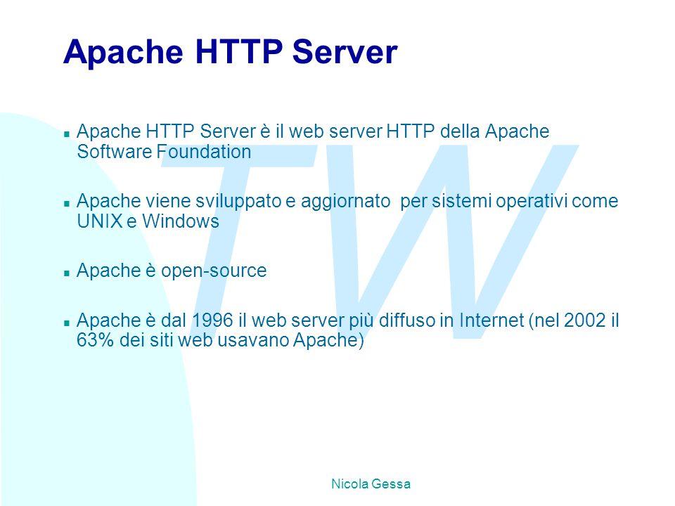 TW Nicola Gessa Apache HTTP Server n Apache HTTP Server è il web server HTTP della Apache Software Foundation n Apache viene sviluppato e aggiornato per sistemi operativi come UNIX e Windows n Apache è open-source n Apache è dal 1996 il web server più diffuso in Internet (nel 2002 il 63% dei siti web usavano Apache)