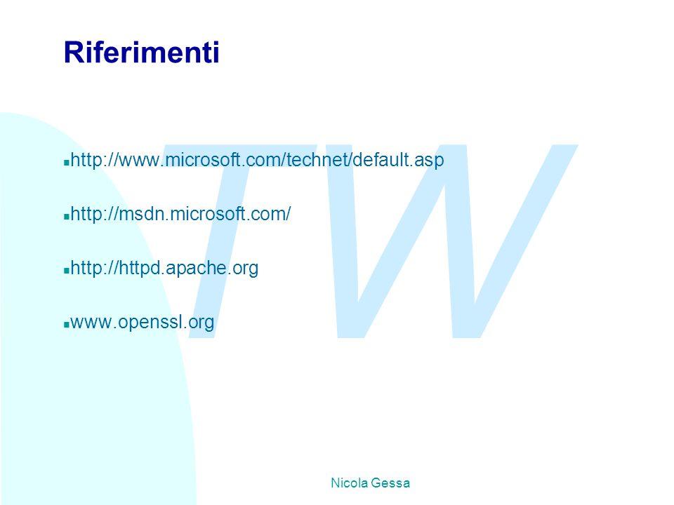 TW Nicola Gessa Riferimenti n http://www.microsoft.com/technet/default.asp n http://msdn.microsoft.com/ n http://httpd.apache.org n www.openssl.org