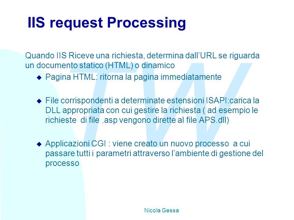 TW Nicola Gessa IIS request Processing Quando IIS Riceve una richiesta, determina dall'URL se riguarda un documento statico (HTML) o dinamico u Pagina HTML: ritorna la pagina immediatamente u File corrispondenti a determinate estensioni ISAPI:carica la DLL appropriata con cui gestire la richiesta ( ad esempio le richieste di file.asp vengono dirette al file APS.dll) u Applicazioni CGI : viene creato un nuovo processo a cui passare tutti i parametri attraverso l'ambiente di gestione del processo