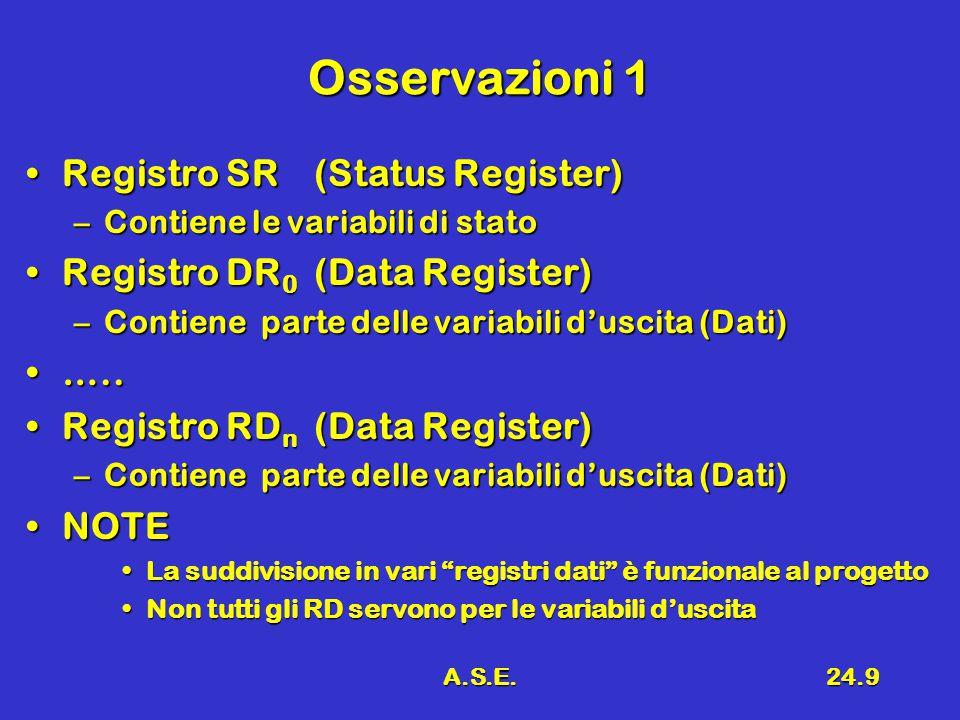 A.S.E.24.9 Osservazioni 1 Registro SR(Status Register)Registro SR(Status Register) –Contiene le variabili di stato Registro DR 0 (Data Register)Registro DR 0 (Data Register) –Contiene parte delle variabili d'uscita (Dati) …..…..