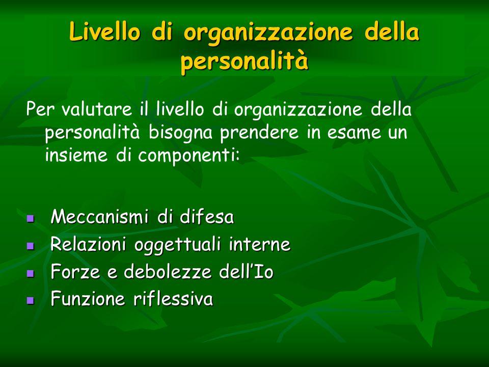 Livello di organizzazione della personalità Per valutare il livello di organizzazione della personalità bisogna prendere in esame un insieme di compon