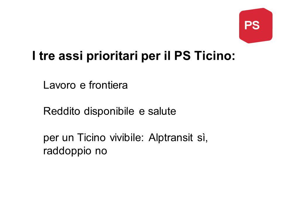 I tre assi prioritari per il PS Ticino: Lavoro e frontiera Reddito disponibile e salute per un Ticino vivibile: Alptransit sì, raddoppio no