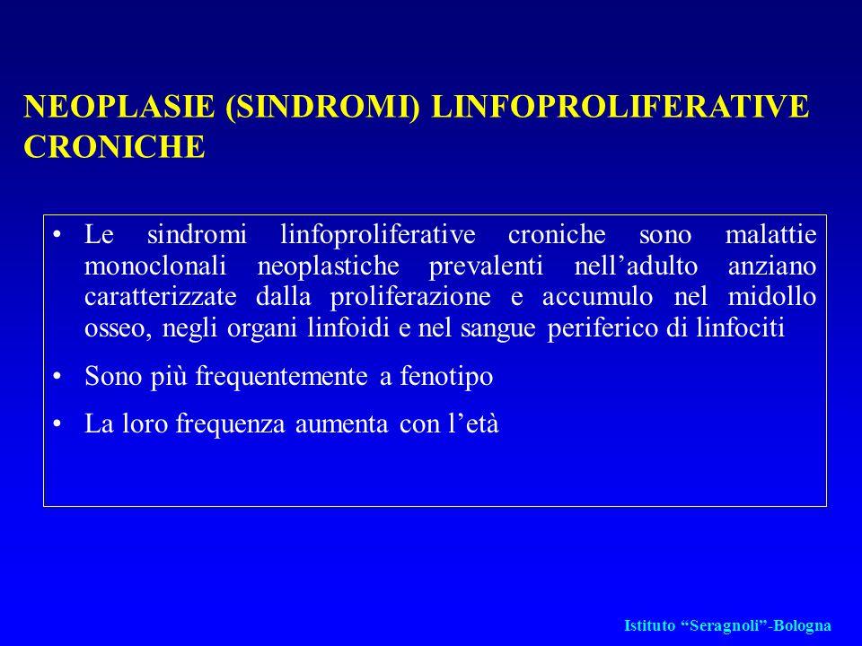 APPROCCIO AL PAZIENTE CON SOSPETTA LLC Studio del fenotipo di membrana dei linfociti (immunofenotipo): –Markers dei linfociti B (CD19, 20, 21, CD23) –CD5 (a bassa intensità) (CD5/CD19 +) –Ig di superficie (IgM o IgD) a bassa densità con restrizione monotipica per le catene leggere INDAGINI DI LABORATORIO (II) Istituto Seragnoli -Bologna