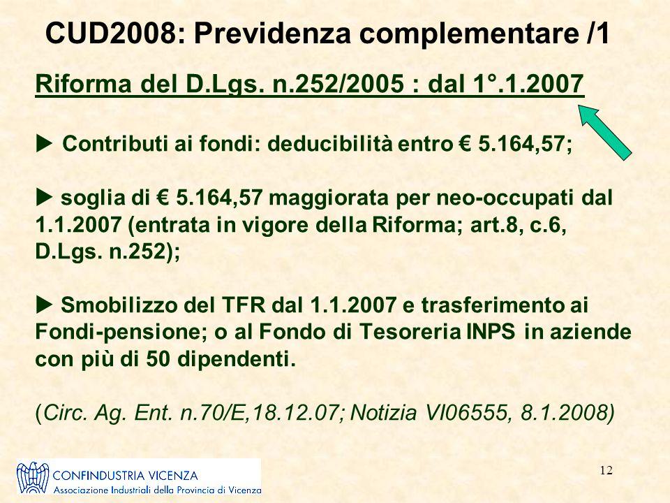 12 Riforma del D.Lgs. n.252/2005 : dal 1°.1.2007  Contributi ai fondi: deducibilità entro € 5.164,57;  soglia di € 5.164,57 maggiorata per neo-occup