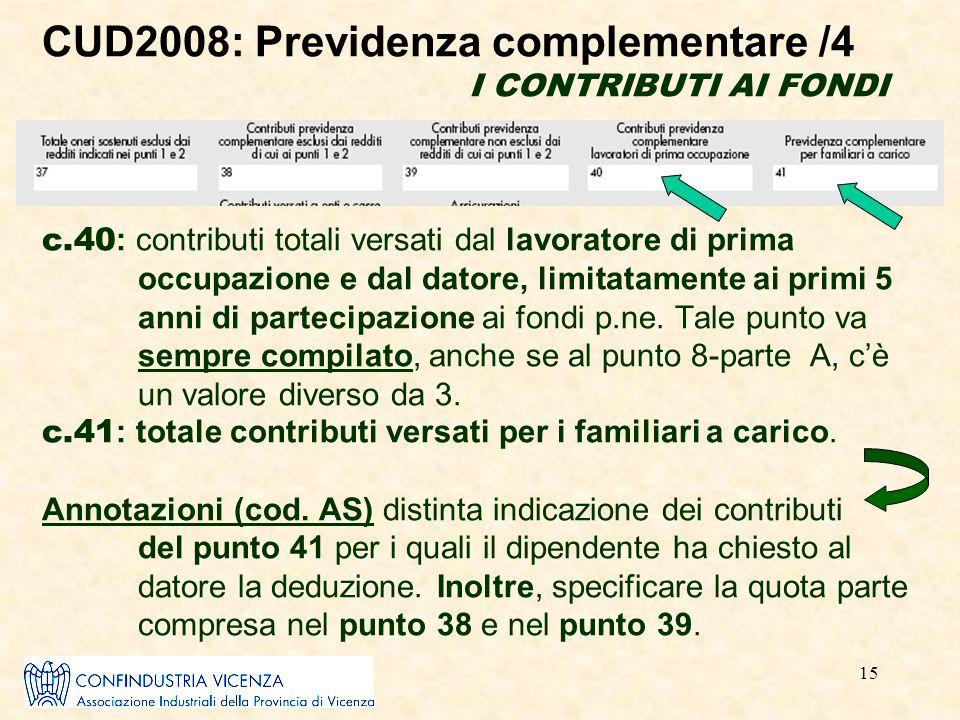 15 CUD2008: Previdenza complementare /4 I CONTRIBUTI AI FONDI c.40 : contributi totali versati dal lavoratore di prima occupazione e dal datore, limit