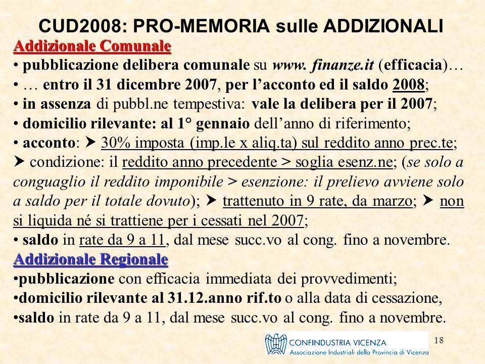 18 CUD2008: PRO-MEMORIA sulle ADDIZIONALI Addizionale Comunale pubblicazione delibera comunale su www. finanze.it (efficacia)… … entro il 31 dicembre