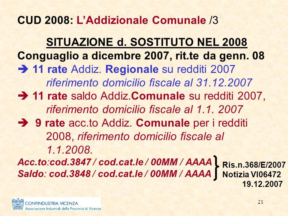 21 SITUAZIONE d. SOSTITUTO NEL 2008 Conguaglio a dicembre 2007, rit.te da genn. 08  11 rate Addiz. Regionale su redditi 2007 riferimento domicilio fi