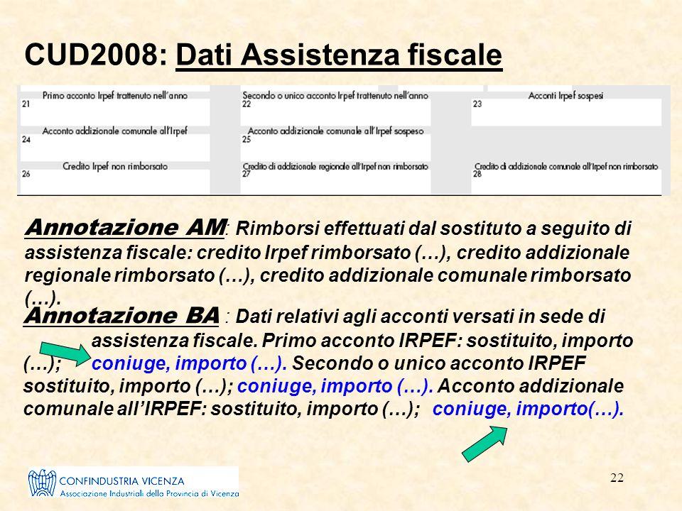 22 CUD2008: Dati Assistenza fiscale Annotazione AM : Rimborsi effettuati dal sostituto a seguito di assistenza fiscale: credito Irpef rimborsato (…),