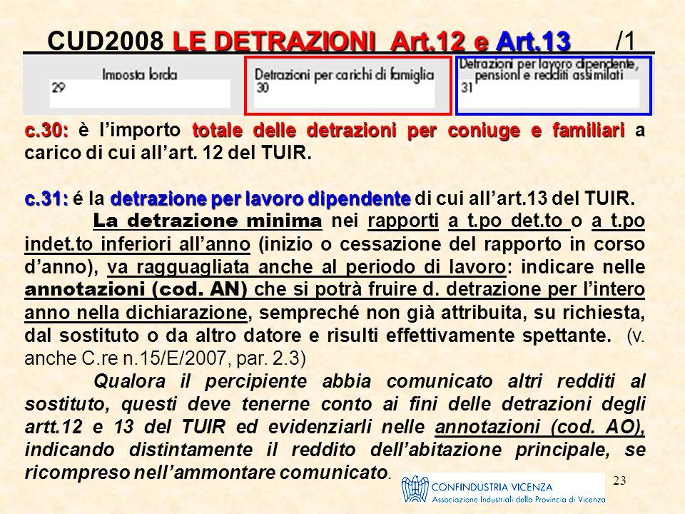 23 LE DETRAZIONI Art.12 e Art.13 CUD2008 LE DETRAZIONI Art.12 e Art.13 /1 c.30:totale delle detrazioni per coniuge e familiari c.30: è l'importo total
