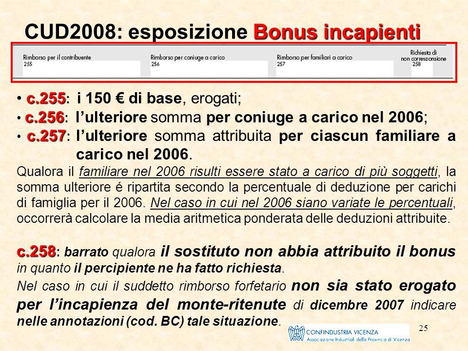25 Bonus incapienti CUD2008: esposizione Bonus incapienti c.255 c.255 : i 150 € di base, erogati; c.256 c.256 : l'ulteriore somma per coniuge a carico