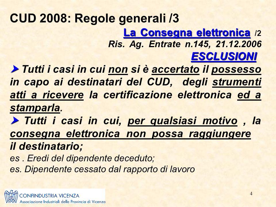 4 CUD 2008: Regole generali /3 La Consegna elettronica ESCLUSIONI  La Consegna elettronica /2 Ris. Ag. Entrate n.145, 21.12.2006 ESCLUSIONI  Tutti i