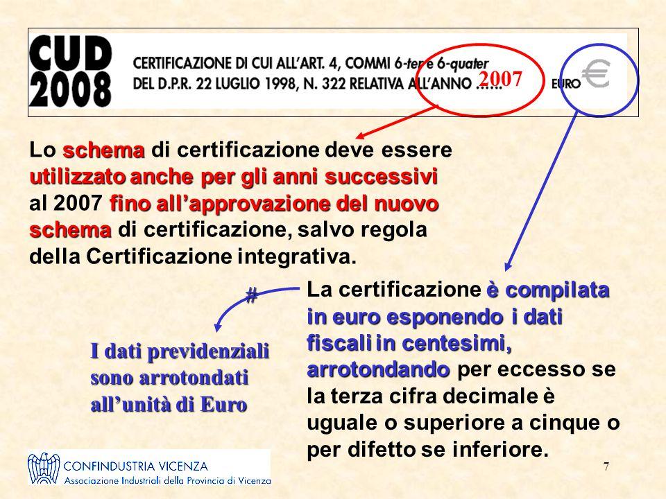 7 2007 schema utilizzato anche per gli anni successivi fino all'approvazione del nuovo schema Lo schema di certificazione deve essere utilizzato anche