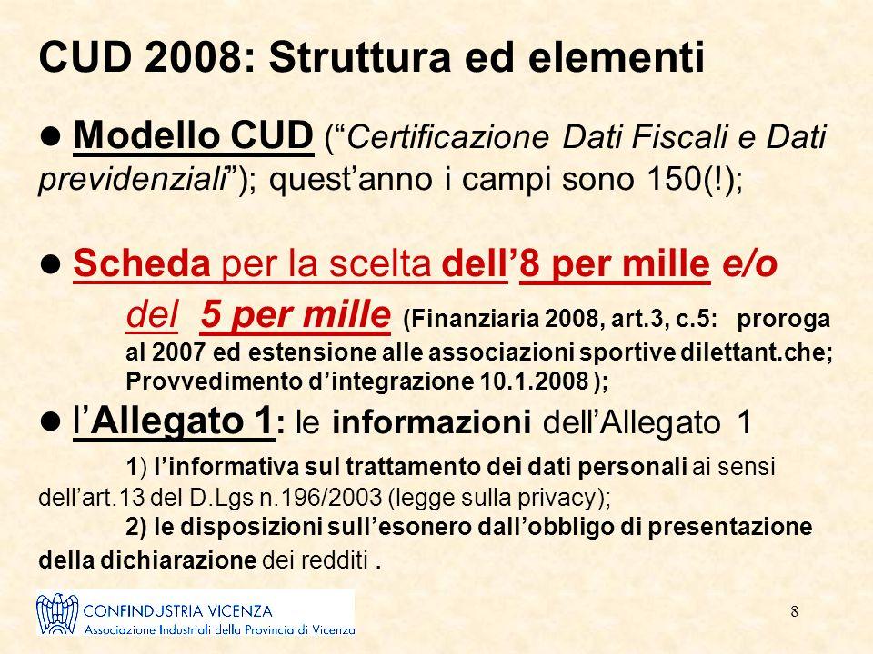 """8 CUD 2008: Struttura ed elementi Modello CUD (""""Certificazione Dati Fiscali e Dati previdenziali""""); quest'anno i campi sono 150(!); Scheda per la scel"""