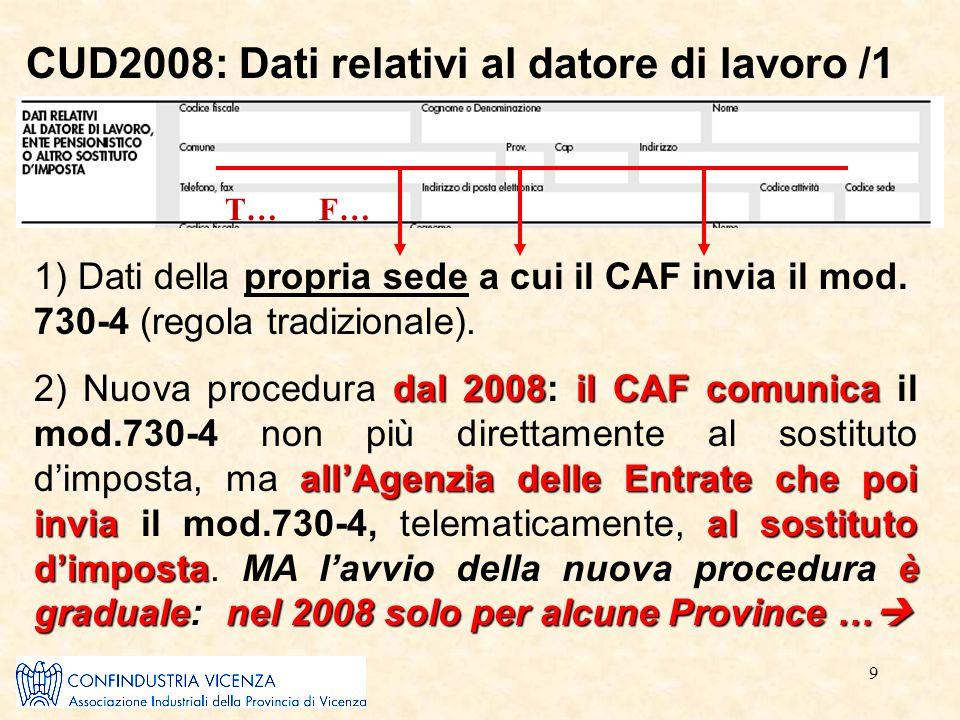 9 CUD2008: Dati relativi al datore di lavoro /1 T… F… 1) Dati della propria sede a cui il CAF invia il mod. 730-4 (regola tradizionale). dal 2008: il