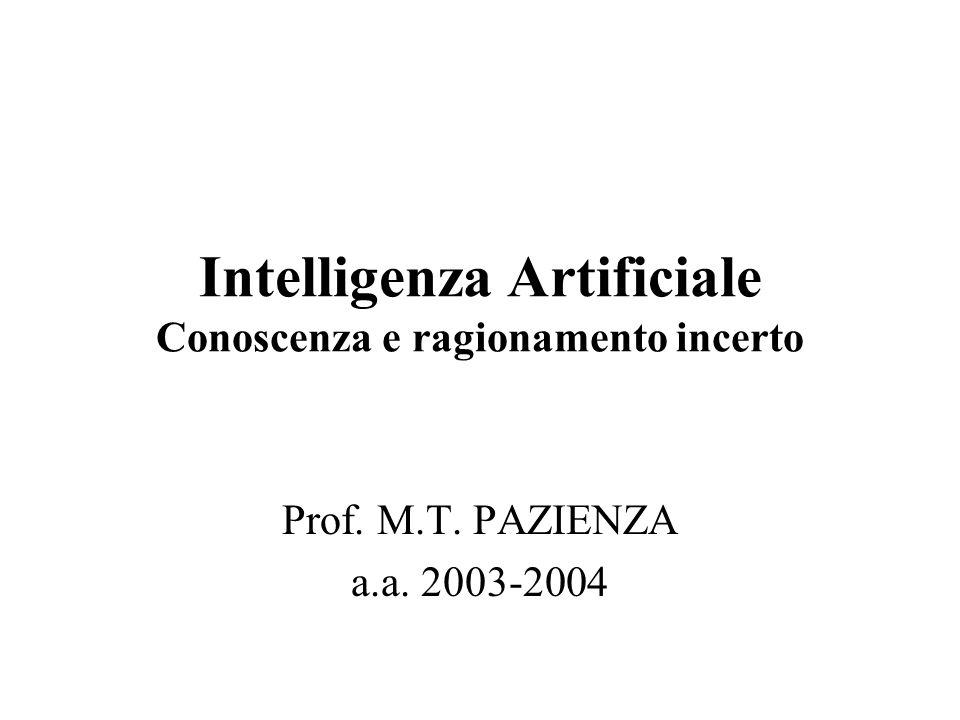 Intelligenza Artificiale Conoscenza e ragionamento incerto Prof. M.T. PAZIENZA a.a. 2003-2004