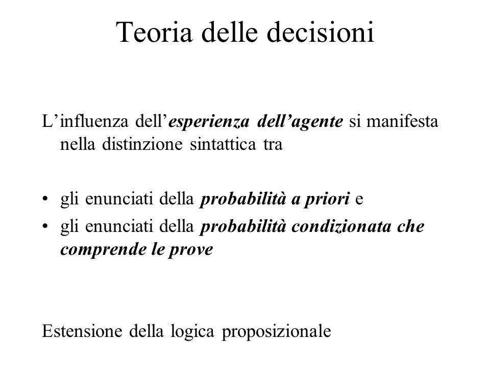 Teoria delle decisioni L'influenza dell'esperienza dell'agente si manifesta nella distinzione sintattica tra gli enunciati della probabilità a priori e gli enunciati della probabilità condizionata che comprende le prove Estensione della logica proposizionale