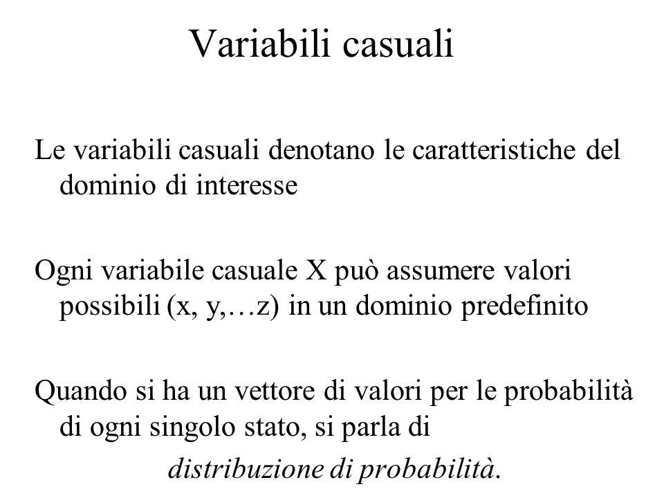 Variabili casuali Le variabili casuali denotano le caratteristiche del dominio di interesse Ogni variabile casuale X può assumere valori possibili (x, y,…z) in un dominio predefinito Quando si ha un vettore di valori per le probabilità di ogni singolo stato, si parla di distribuzione di probabilità.