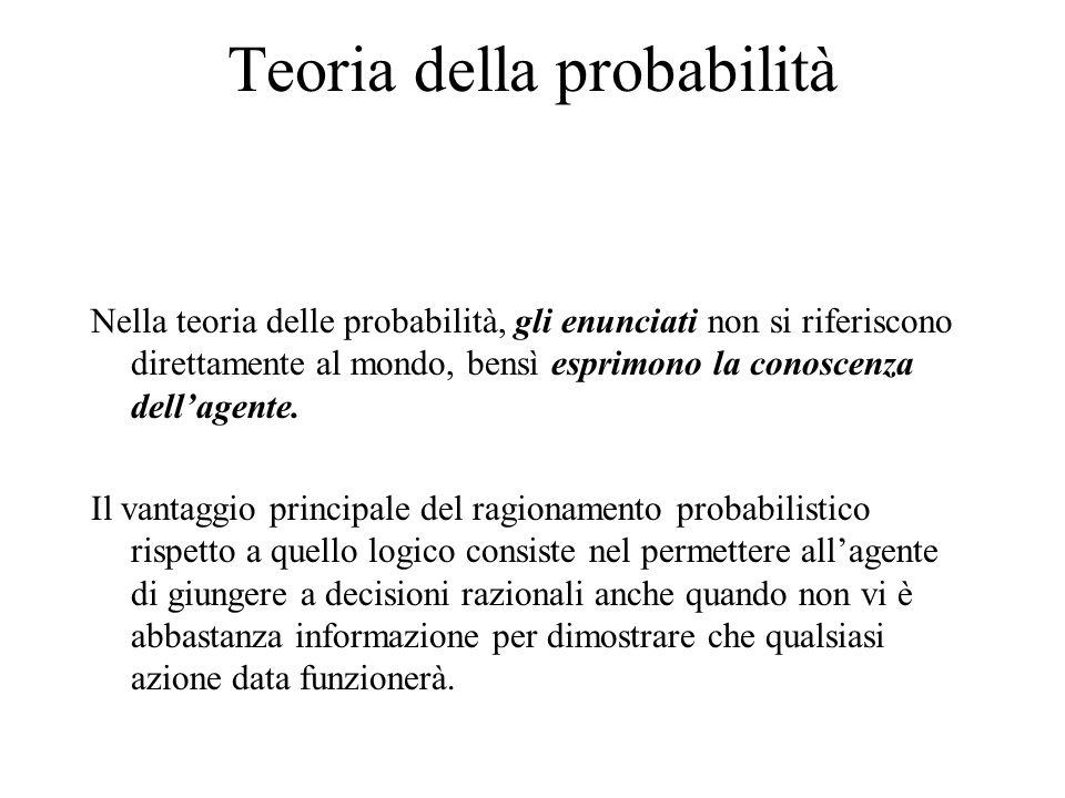 Teoria della probabilità Nella teoria delle probabilità, gli enunciati non si riferiscono direttamente al mondo, bensì esprimono la conoscenza dell'agente.