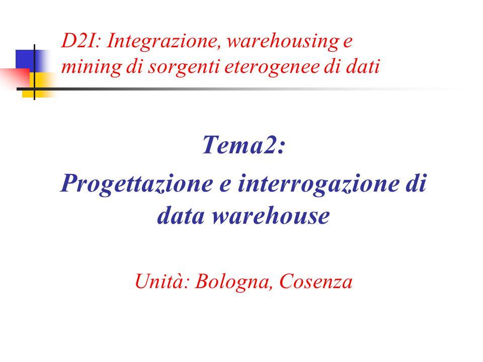 D2I: Integrazione, warehousing e mining di sorgenti eterogenee di dati Tema2: Progettazione e interrogazione di data warehouse Unità: Bologna, Cosenza